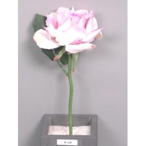 Искусственный цветок, Роза короткая Королева Анна, лиловая, высотой 31 см.Размер бутона: высота 7 см, диаметр 12 см