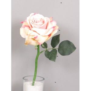 Искусственный цветок, Роза короткая Королева Анна, лосось, высотой 31 см.Размер бутона: высота 7 см, диаметр 12 см