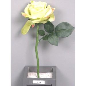 Искусственный цветок, Роза короткая Королева Анна, зеленое яблоко, высотой 31 см.Размер бутона: высота 7 см, диаметр 12 см