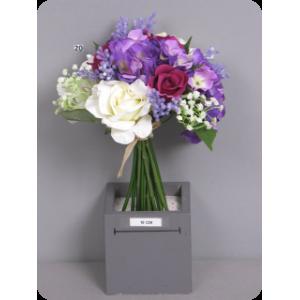 Роза/Гортензия, букет, крем/фиолетовый,  30 см