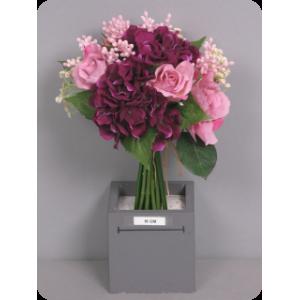 Роза/Гортензия, букет, фиолетовый/сиреневый, 30 см