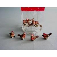 Воробьи рождественские 3 см (4 штуки в упаковке)