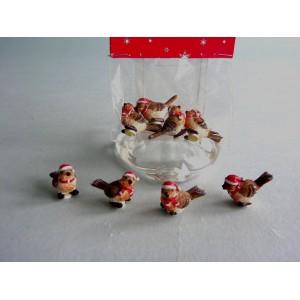 Воробьи рождественские 3 см (4 штуки в упаковке). Очаровательные птички в рождественских шапках - новый элемент новогоднего декора.