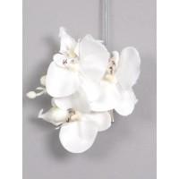 Заколка - брошь с  головкой орхидеи Minz (3 цветка), кремовая, 10 см