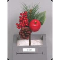 Букет с яблоком и ягодами, красный, 19 см
