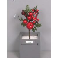 Рождественский букет с яблоком и ягодами, красный, 25см