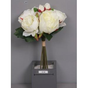 Аренда  искусственных цветов Букет пионов, кремовый, 8 штук, 34 см