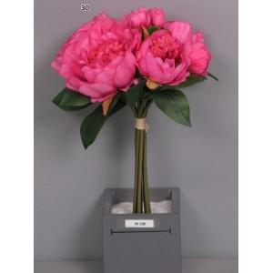 Букет пионов, ярко-розовый, 8 шт., 34 см