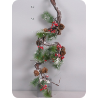 Гирлянда сосновая с ягодами и снегом, 180 см