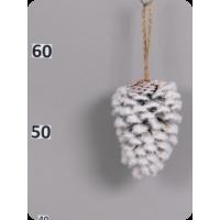 Заснеженная сосновая шишка с подвесом, 10 см