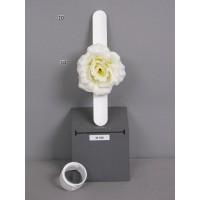 Браслет-зажим с розой, кремовый, 23 см