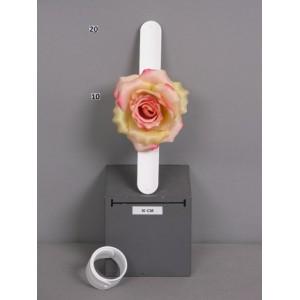 Браслет-зажим с розой, красно-желтый, 23 см