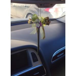 Ароматизированная палочка для авто в цветочной миникомпозиции с лентами. Натуральный запах цветочного букета сохраняется до 60 дней.