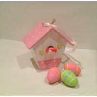 Пасхальное украшение - домик, розовый цвет