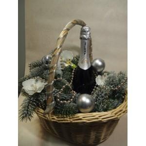 """Основа для подарка """"Новогодняя корзинка в серебре"""""""