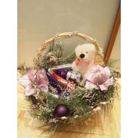 Основа для подарка Новогодняя детская корзинка с веткой Стокгольм