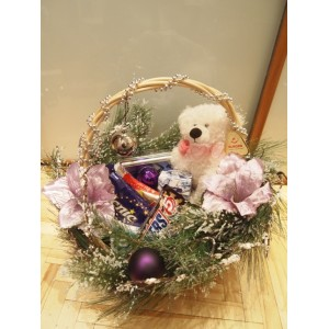 """Основа для подарка """"Новогодняя детская корзинка с веткой """"Стокгольм"""""""""""