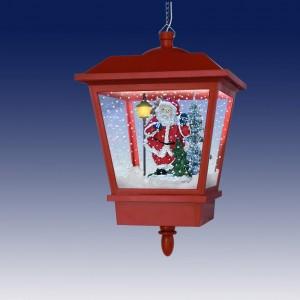 Декоративный рождественский подвесной фонарик, подсветка, 25 рождественских мелодий,  падающий снег,  красный