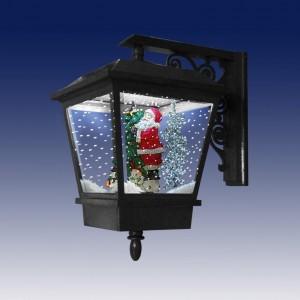Декоративный рождественский настенный фонарик, подсветка, 25 рождественские мелодии, падающий снег, черный