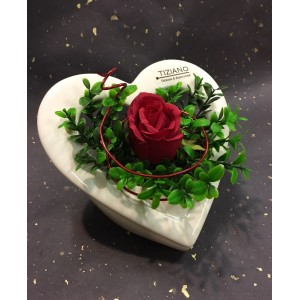 Керамическая ваза-подсвечник TIZIANO Сердце Ареси,18 см с красной розой и травой