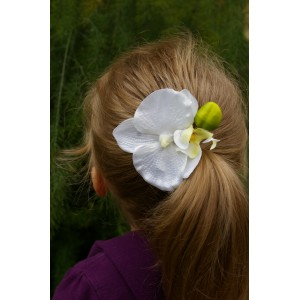 Заколка - зажим с крупной орхидеей