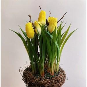 """Тюльпаны желтые в """"гнезде"""", 26 см"""