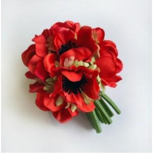 Анемон, шар, красный, 12 см