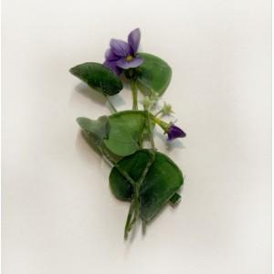 Заколка - брошь с маленьким цветком (анютины глазки)