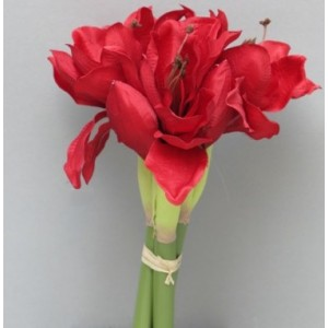Амариллис Marit, букет из 3-х цветков, 30 см, красный