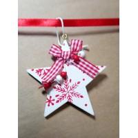 Новогоднее украшение подарочной упаковки (коробки)-бело-красная звезда на красной ленте