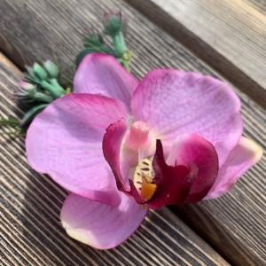 """Заколка-брошь для волос """"Розовая орхидея"""" в ассортименте"""