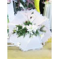 Аренда  зимнего свадебного зонта из искусственных цветов